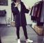 เสื้อคลุมแฟชั่นเกาหลี มีฮู้ด ซิปหน้า สีดำ thumbnail 4