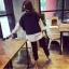 เสื้อแฟชั่นเกาหลี ต่อแขนและชายเสื้อผ้าลายริ้ว สีน้ำเงิน thumbnail 5