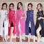 เซ็ตเสื้อคอจีนแหวกหน้า+กางเกง-สีกรม thumbnail 2