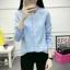 เสื้อเชิ้ตแฟชั่นแขนยาว คอระบาย สีฟ้า thumbnail 6