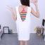Set เสื้อสายรุ้ง + ชุดเอี๊ยมกระโปรงยีนส์สีขาว thumbnail 3