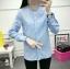เสื้อเชิ้ตแฟชั่นแขนยาว คอระบาย สีฟ้า thumbnail 4