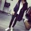 เสื้อคลุมแฟชั่นเกาหลี มีฮู้ด ซิปหน้า สีดำ thumbnail 2