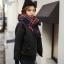 ผ้าพันคอกันหนาว ลายสก๊อต สไตล์เกาหลี โทนสีน้ำเงิน thumbnail 3