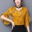 เสื้อแฟชั่น เกาหลี ชีฟองพิมพ์ลาย คอวีเก๋ๆ สีเหลือง