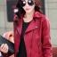 เสื้อแจ็คเก็ต เสื้อหนังแฟชั่น พร้อมส่ง สีแดง หนัง PU คุณภาพงานพรีเมี่ยม คอปกโฉบเฉี่ยว หนังนิ่ม ใส่สบาย thumbnail 1