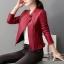 เสื้อแจ็คเก็ต เสื้อหนังแฟชั่น พร้อมส่ง สีแดง คอจีน ตัวสั้น หนังด้าน ดีเทลซิบรูดปลายแขนเก๋ thumbnail 2
