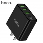 HOCO C15 Adapter 3 port 3.0A with LED display สีดำ
