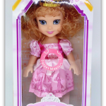 ตุ๊กตาเจ้าหญิงสวมมงกุฎ ผมสีทองเข้ม มีเสียง