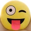 หมอนอิงตุ๊กตา อิโมจิ แลบลิ้น ทรงกลม สีเหลือง