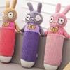 หมอนข้างผ้าห่ม ดินสอกระต่าย หูยาว สีม่วง