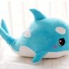 หมอนผ้าห่มแยกชิ้น ปลาโลมา มีลายด้านหลัง สีฟ้า ตัวใหญ่