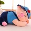 หมอนผ้าห่ม น้องหมู ใส่หมวก สีน้ำเงิน ทรงนอน ตัวเล็ก