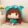 ตุ๊กตาผ้าห่ม เด็กหญิง ใส่หมวก สีเขียว