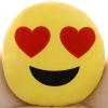 หมอนอิงตุ๊กตา อิโมจิ ตาเป็นรูปหัวใจ ทรงกลม สีเหลือง