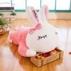 หมอนข้างผ้าห่ม กระต่ายน้อย ทรงนอน สีชมพู