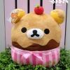 หมอนอิงตุ๊กตา คุมะ ทรงขนมเค้ก สีชมพู ไม่มีผ้าห่ม