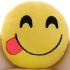 หมอนอิงตุ๊กตา อิโมจิ ยิ้มหวาน แลบลิ้น ทรงกลม สีเหลือง