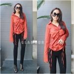 เสื้อเชิ้ตแขนยาวแฟชั่นสีส้มแสด