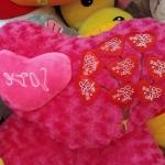 หมอนผ้าห่มแยกชิ้น รูปหัวใจ สีแดง