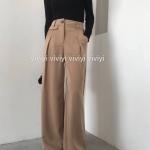 กางเกงเอวสูงขาบานแฟชั่น สีครีม