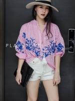เสื้อคอจีนแฟชั่นสีชมพู