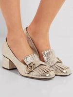 รองเท้าส้นสูงแฟชั่น Gucci สีทอง