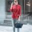 เสื้อเชิ้ตคอจีนแฟชั่นสีแดง