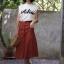 กระโปรงแฟชั่น Vela skirt กระโปรงทรงเอ สีส้มอิฐ