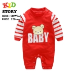 PRE-ORDER ชุดบอดี้สูท สีแดง ลายหมี baby