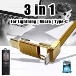 สายชาร์จ 3 in 1 iPhone/Micro USB/Type-C (สีทอง) GPLEX - Remax
