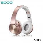 หูฟังอัจฉริยะ 2in1 เป็นลำโพงบลูทูธได้ SODO MH5 สีทอง