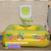 ( ขนาด 5 ฟุต ) สีเหลือง -- สระน้ำเป่าลม สีเหลี่ยม ติดแป้นบาสเก็ตบอล Happy Duck 150*110*105 เซนติเมตร