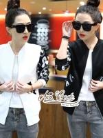 เสื้อเกาหลี พร้อมส่ง เสื้อแจ็กเก็ต สีดำ ลายมิกกี้เม้า
