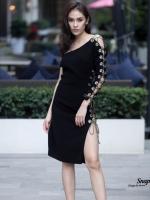 ชุดเดรสเกาหลี พร้อมส่ง Dress ไหล่ข้างเดียว ทรงเข้ารูป