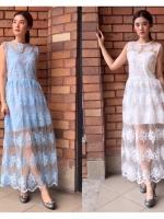 ชุดเดรสเกาหลี พร้อมส่ง Maxi dress เดรสลูกไม้ ผ้าแก้ว