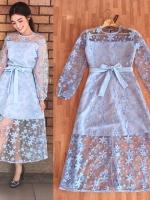 ชุดเดรสเกาหลี พร้อมส่ง Maxi dress เดรสลูกไม้
