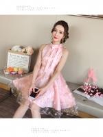 เดรสเกาหลี พร้อมส่ง เดรสผ้าโปร่งปักด้ายสีชมพู