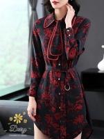 ชุดเดรสเกาหลี พร้อมส่ง ชุดเดรส ผ้าหางกระรอกพิมลาย