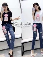 เสื้อผ้าเกาหลี พร้อมส่ง ชุดเซทเสื้อ+กางเกงยีนส์ Chanel