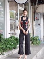 เสื้อผ้าแฟชั่นเกาหลี พร้อมส่ง จั้มสูท ปักดอกกุหลาบ