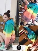 เสื้อเกาหลี พร้อมส่ง เสื้อกันหนาว ไล่สีสลับสี
