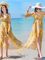 ชุดเดรสเกาหลี พร้อมส่ง เดรสผ้าชีฟอง พิมพ์ลายดอกไม้สีเหลือง