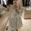 พร้อมส่ง Mini dress ลูกไม้ขาวดำ thumbnail 5