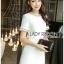 ชุดเดรสเกาหลี พร้อมส่ง เดรสผ้าทวีตสีขาวตกแต่งมุก thumbnail 3