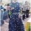 ชุดเดรสเกาหลี พร้อมส่ง เดรสยาว ผ้าชีฟองสีน้ำเงินพิมพ์ลายดอกไม้ thumbnail 2