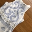 ชุดเดรสเกาหลี พร้อมส่ง เดรสยาว ผ้าพื้นสีขาวพิมพ์ลายสีฟ้า thumbnail 9