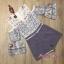 เสื้อผ้าเกาหลี พร้อมส่ง จั๊มสูท เว้าไหล่ ลายดอกไม้ thumbnail 4
