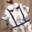 เสื้อผ้าเกาหลี พร้อมส่ง จั้มสูท คอบัวปักดอกไม้ thumbnail 9