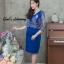 ชุดเดรสเกาหลี พร้อมส่ง เดรสผ้าไหมบนลูกไม้ดิ้นทองคอวี thumbnail 3